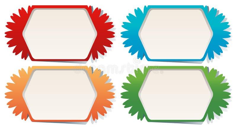 Moldes da etiqueta em quatro cores ilustração royalty free