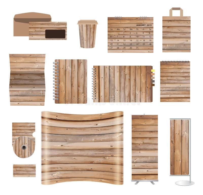 Moldes da identidade corporativa com textura do fundo de madeira ilustração do vetor