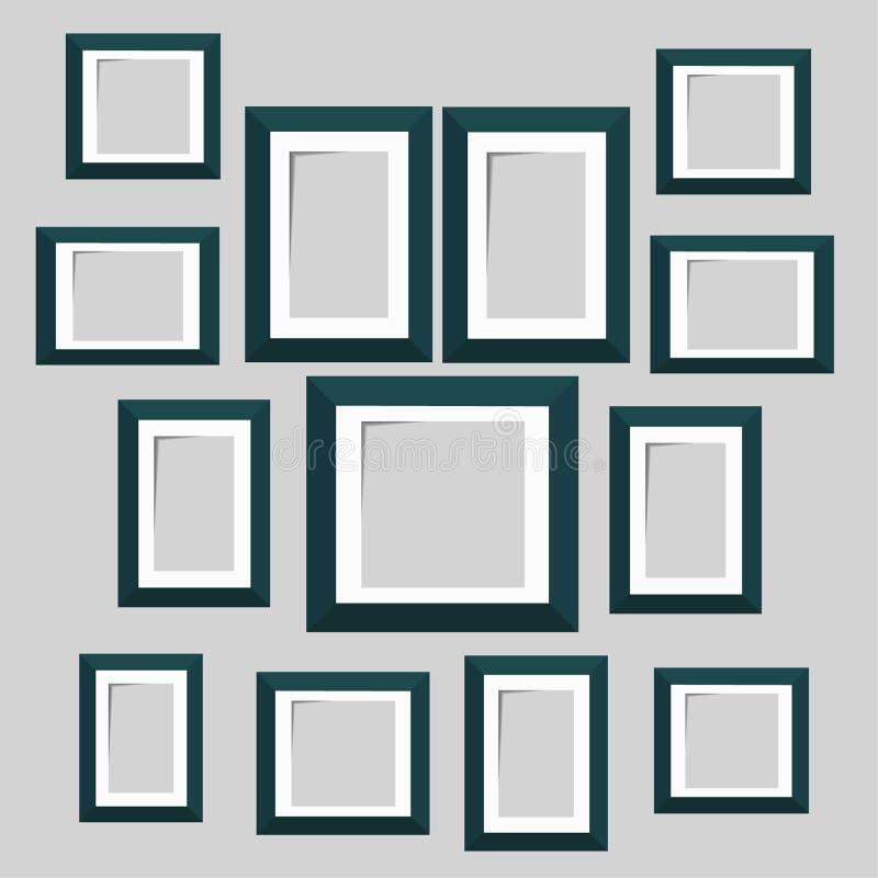 Moldes da moldura para retrato da parede isolados no fundo branco blank ilustração stock