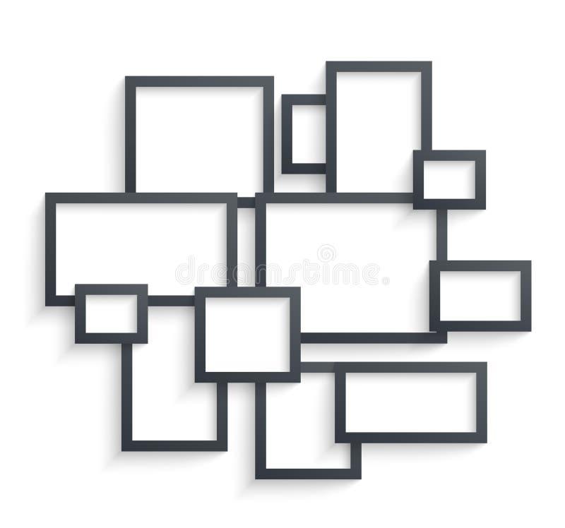Moldes da moldura para retrato da parede isolados no fundo branco Quadros vazios da foto com sombra e beiras e vetor da sombra ilustração stock