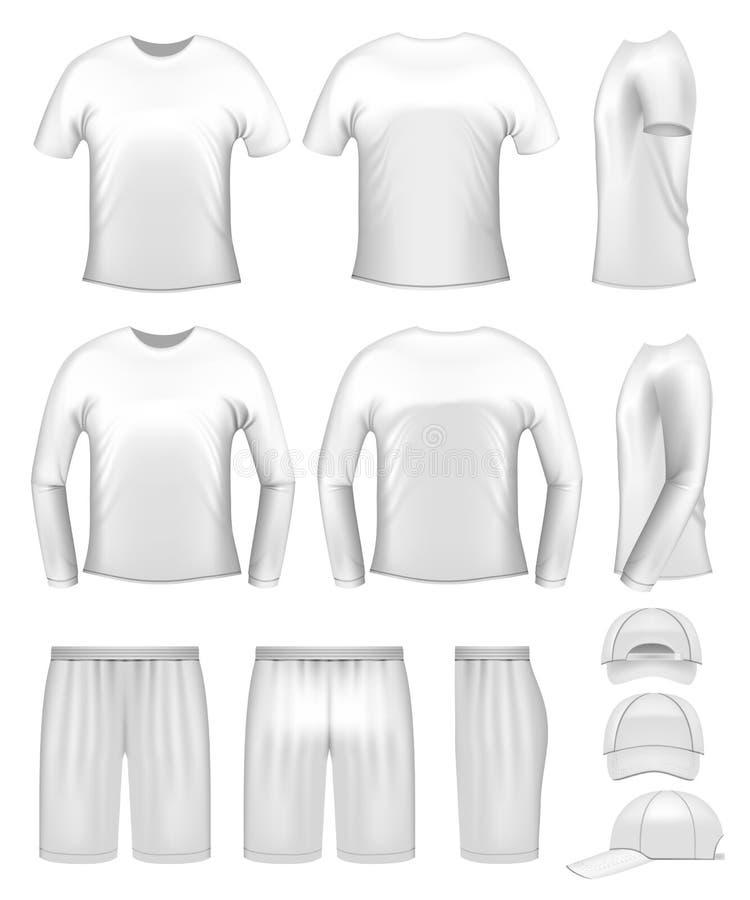 Moldes da roupa de homens brancos ilustração do vetor
