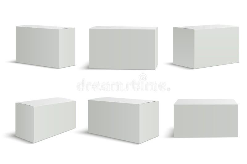 Moldes das caixas brancas A caixa médica vazia 3d isolou o empacotamento do papel Modelo do vetor do pacote da caixa do retângulo ilustração do vetor