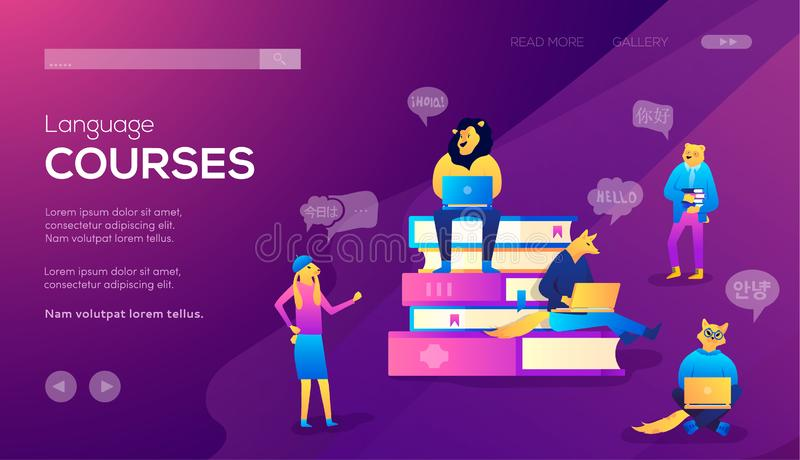 Moldes de aterrissagem da página para cursos de línguas, o ensino à distância, o treinamento e webinars em linha ilustração stock
