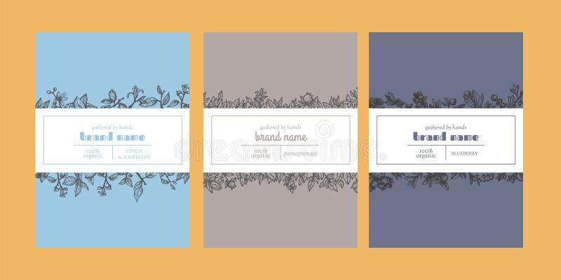 Moldes de empacotamento florais com elementos e as fitas esboçados do projeto ilustração royalty free