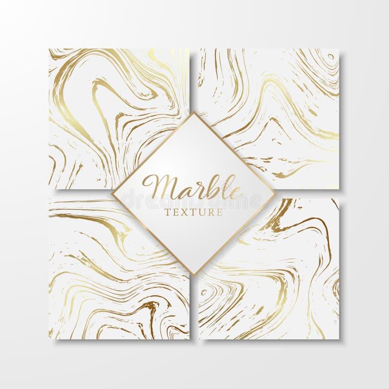 Moldes de mármore dourados do projeto para o convite ilustração do vetor