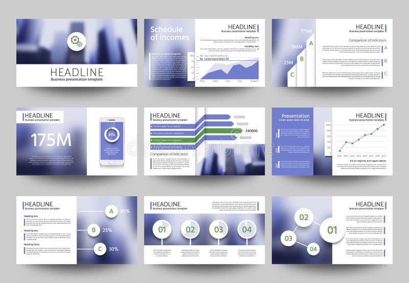 Moldes de múltiplos propósitos do vetor da apresentação do negócio com elementos borrados da foto Projeto incorporado do folheto  ilustração royalty free