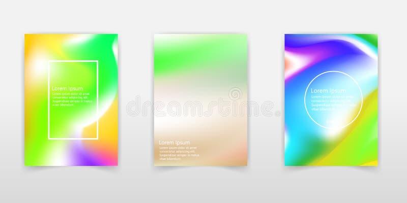 Moldes de tampa com efeito holográfico Fundos do holograma do vetor para insetos, bandeiras, folheto, cartaz, cartaz, projeto de  ilustração royalty free
