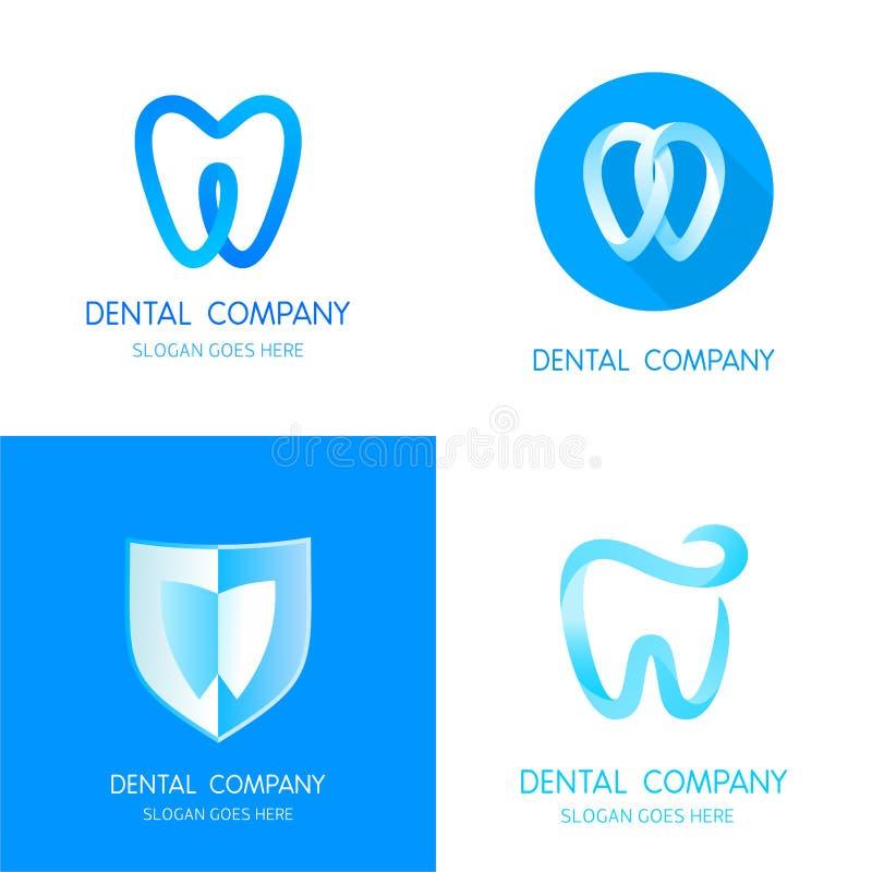 Moldes dentais dos logotipos Dentes abstratos do vetor ilustração stock