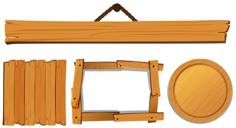 Moldes diferentes para a placa de madeira ilustração royalty free