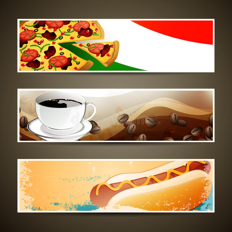 Moldes do alimento e do café ilustração stock