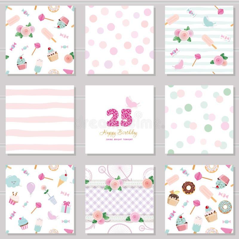 Moldes do aniversário ajustados Testes padrões sem emenda bonitos com doces e elementos decotative Para o cartão, cartaz, caderno ilustração stock
