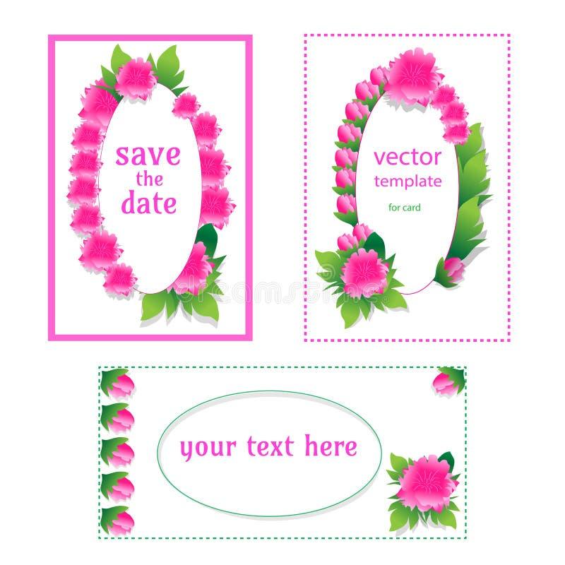 Moldes do cartão com peônias Projeto bonito para felicitações, convites ilustração do vetor