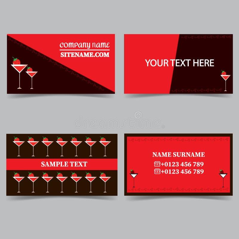 Moldes do cartão com um vidro de cocktail Grupo do vetor do projeto dos artigos de papelaria ilustração do vetor