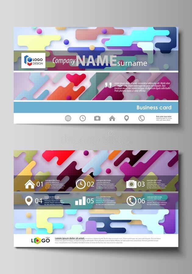 Moldes do cartão Disposições de projeto abstratas do vetor Linhas de cor e pontos brilhantes, contexto minimalista colorido com ilustração royalty free