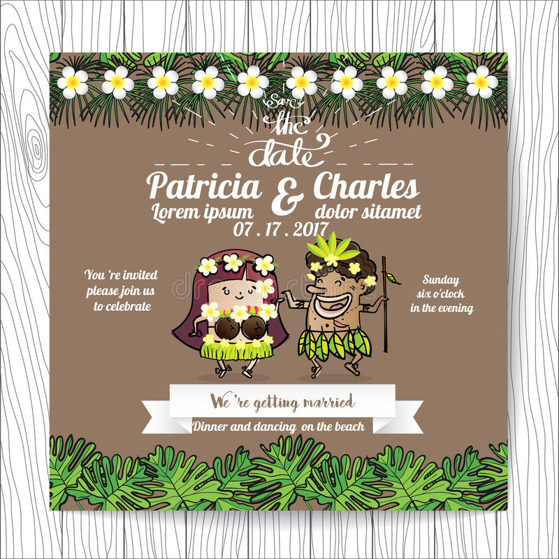 Moldes do cartão do convite do casamento, noiva do personagem de banda desenhada ilustração do vetor