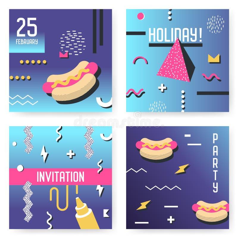 Moldes do cartaz do convite ajustados com Memphis Shapes geométrico Estilo retro do vintage 80s 90s do fundo do partido ilustração stock