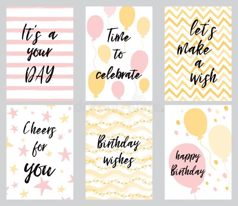 Moldes do convite do cartão e do partido do feliz aniversario, ilustração do vetor, estilo tirado mão ilustração do vetor