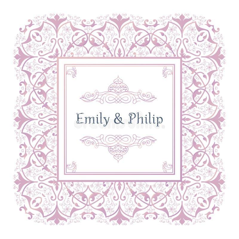 Moldes do convite do casamento do vintage, linha arte Cartões ornamentados da beira do vetor no estilo oriental ilustração royalty free