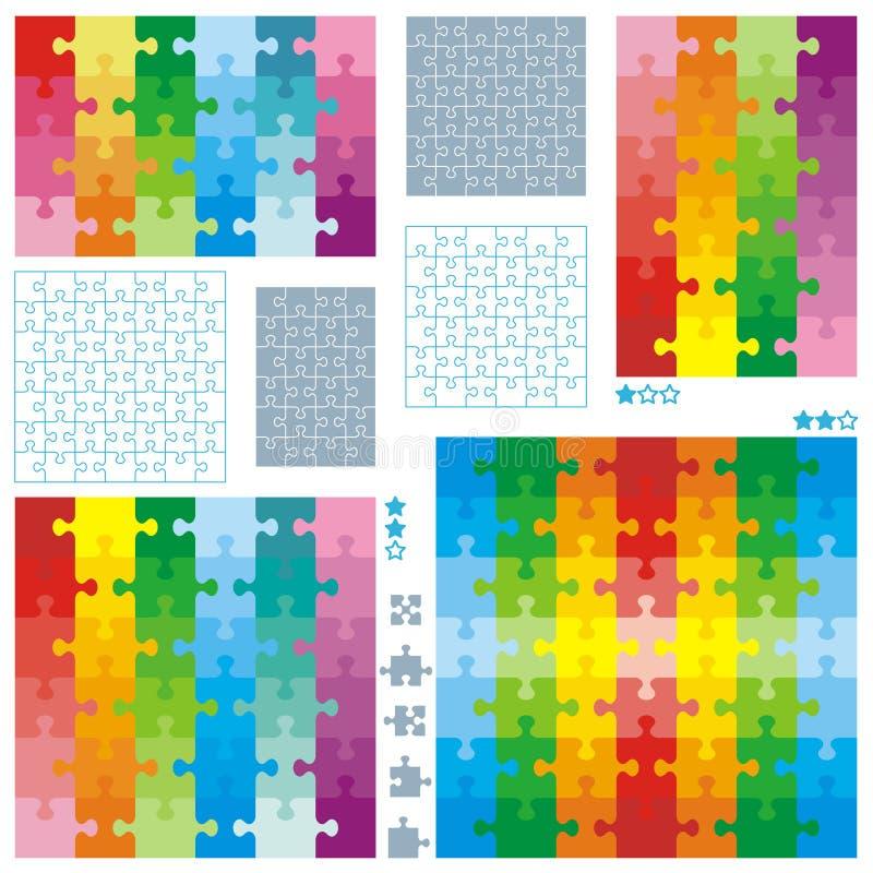 Moldes do espaço em branco do enigma de serra de vaivém e teste padrão colorido ilustração stock