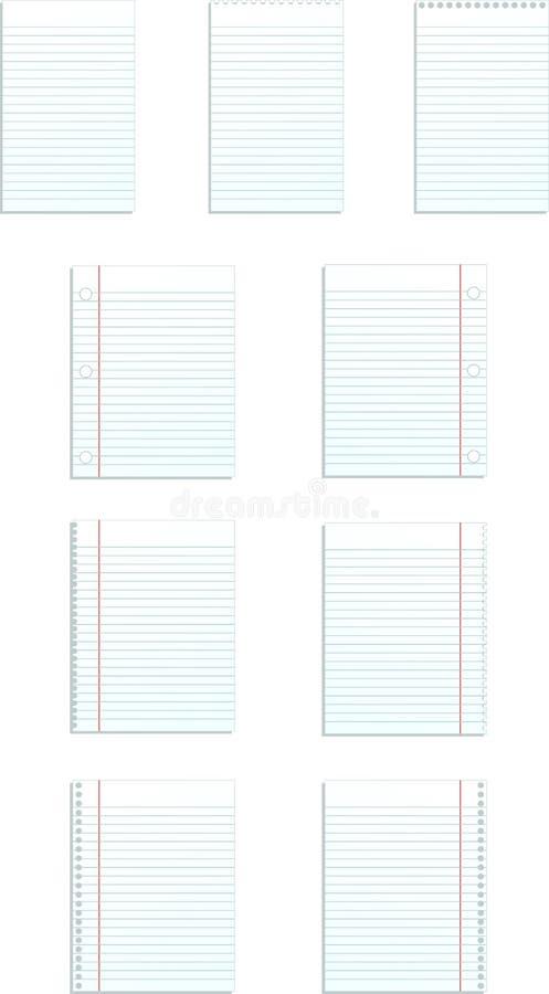 Moldes do espaço em branco do papel governado ilustração stock