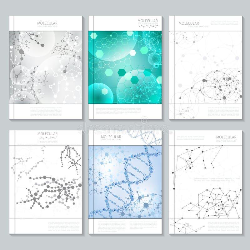 Moldes do folheto ou do relatório da estrutura molecular ilustração do vetor