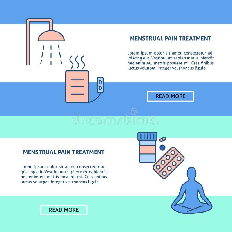 Moldes do inseto do conceito do tratamento da dor da menstruação na linha estilo ilustração royalty free