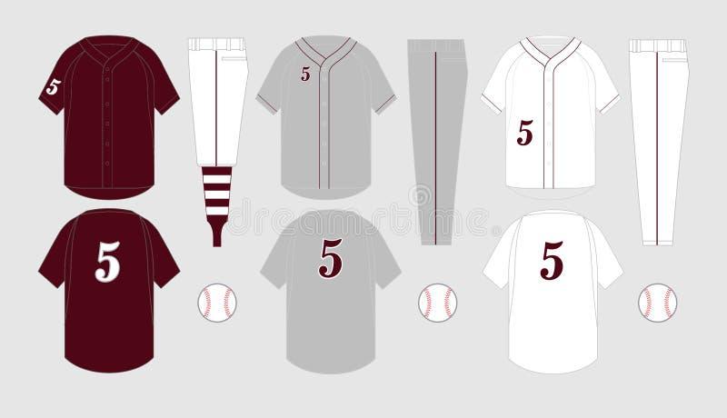 Moldes do jérsei de basebol ilustração do vetor