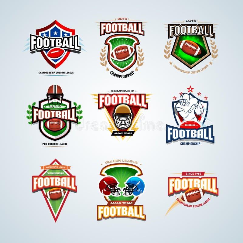 Moldes do logotipo do futebol americano ajustados e crachás, cristas e t-shirt, etiqueta e emblema, t-shirt e ícones ilustração stock