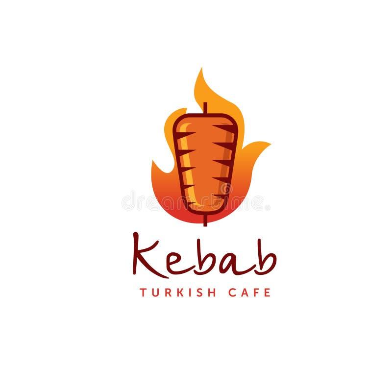 Moldes do logotipo do no espeto de Doner Vector etiquetas criativas para o restaurante turco e árabe do fast food ilustração stock