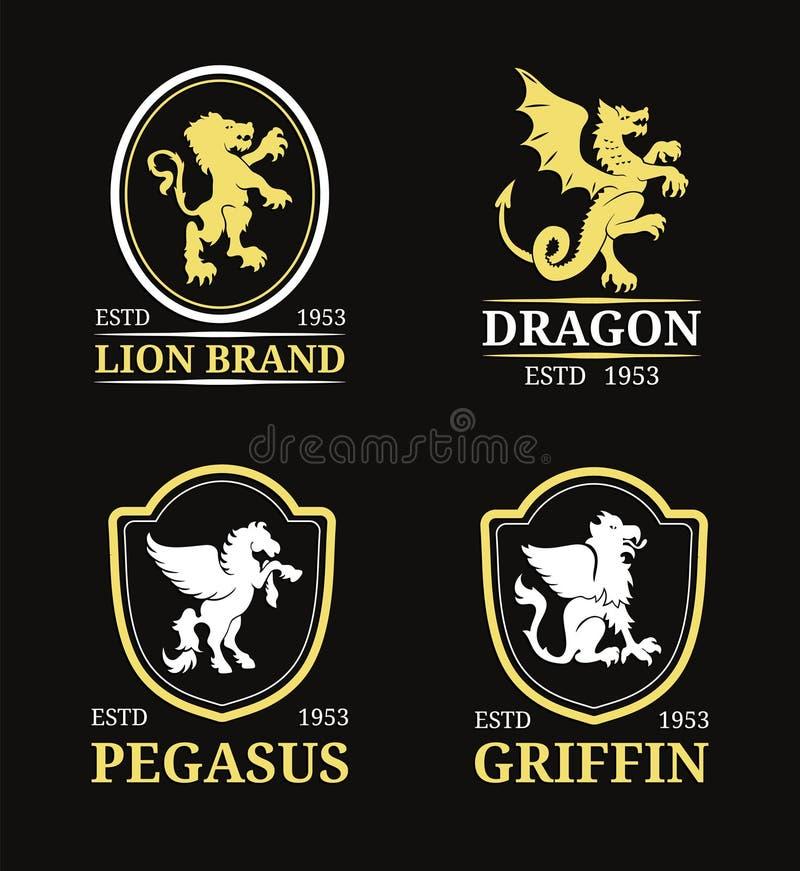 Moldes do monograma da crista do vetor Pegasus luxuoso, dragão, leão, projeto do grifo Ilustrações graciosas das silhuetas dos an ilustração stock