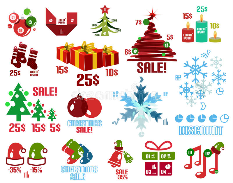 Moldes do Natal e grupo de elementos infographic ilustração stock