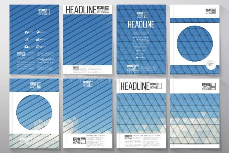 Moldes do negócio para o folheto, o inseto ou a brochura Céu nebuloso azul Coleção de fundos coloridos abstratos ilustração stock
