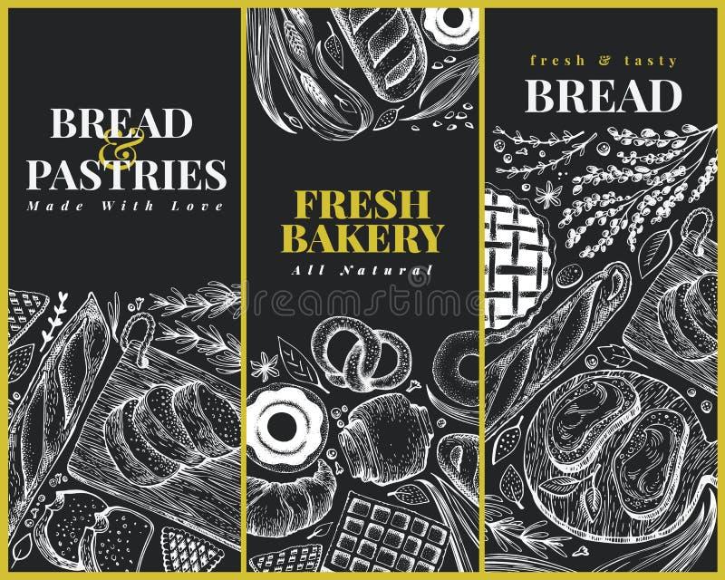 Moldes do projeto da opinião superior da padaria Entregue a ilustração tirada do vetor com pão e pastelaria na placa de giz retro ilustração stock