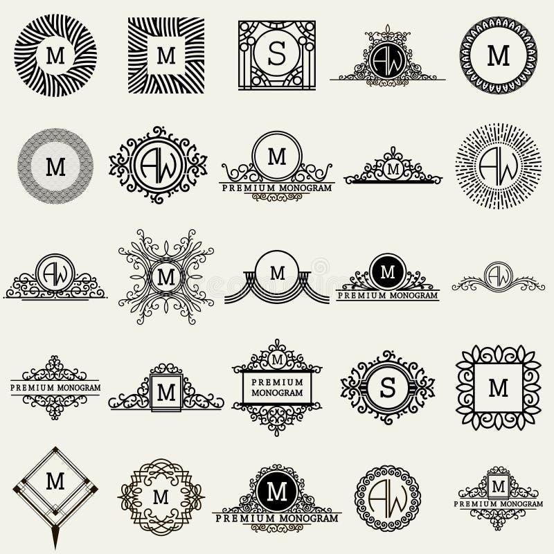 Moldes do projeto do monograma do vintage Símbolos dos ícones, etiquetas retros, crachás, silhuetas ilustração stock