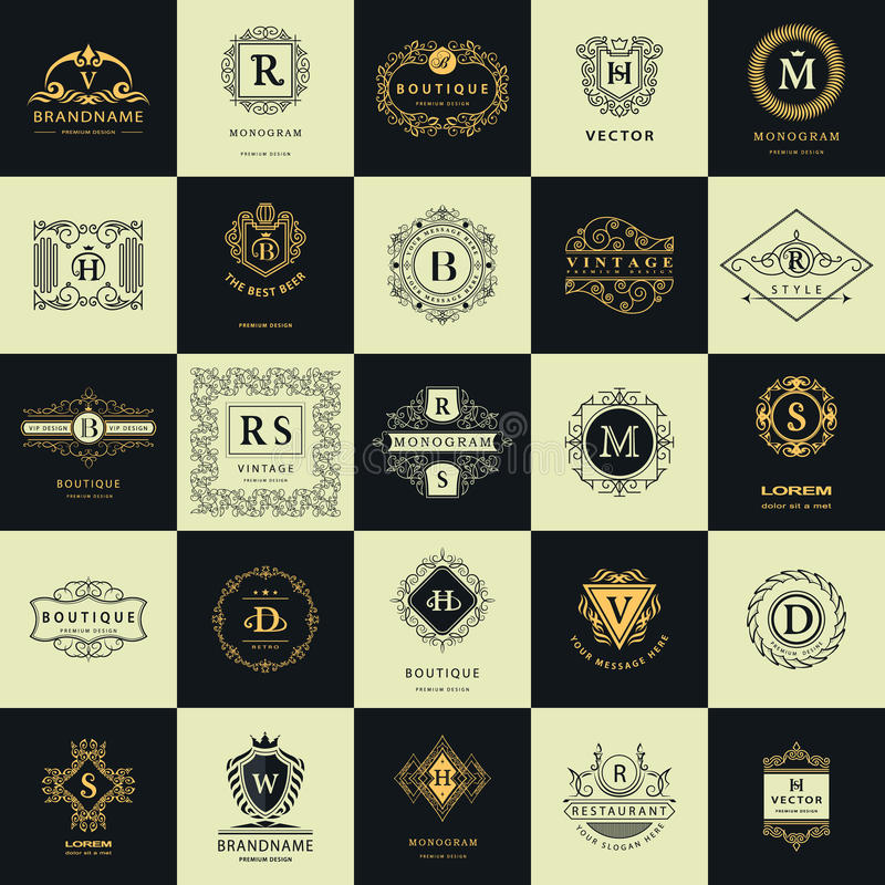 Moldes do projeto dos logotipos do vintage ajustados Elementos coleção dos Logotypes, símbolos dos ícones, etiquetas retros, crac ilustração stock