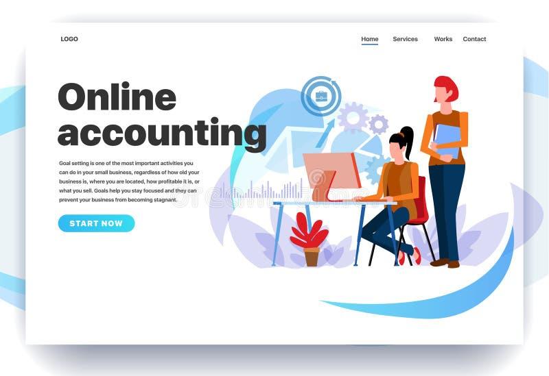 Moldes do projeto do página da web para a contabilidade em linha ilustração do vetor