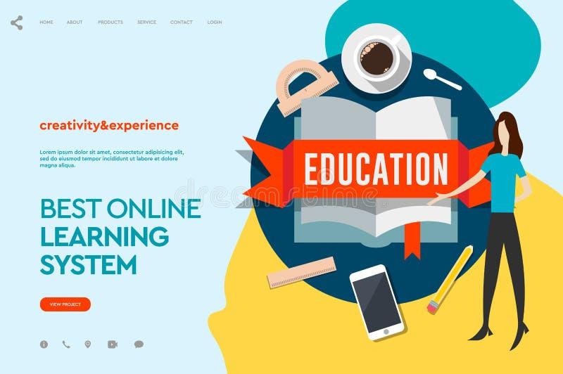 Moldes do projeto do página da web para o ensino eletrónico, educação em linha, eBook Conceito moderno da ilustração do vetor par ilustração do vetor