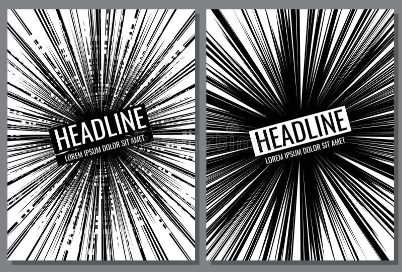 Moldes do vetor do folheto com linha cômica efeito da velocidade ilustração royalty free