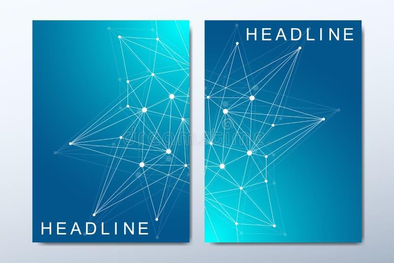 Moldes do vetor do negócio para o folheto, tampa, inseto, informe anual, folheto Composição abstrata mínima com molécula ilustração stock