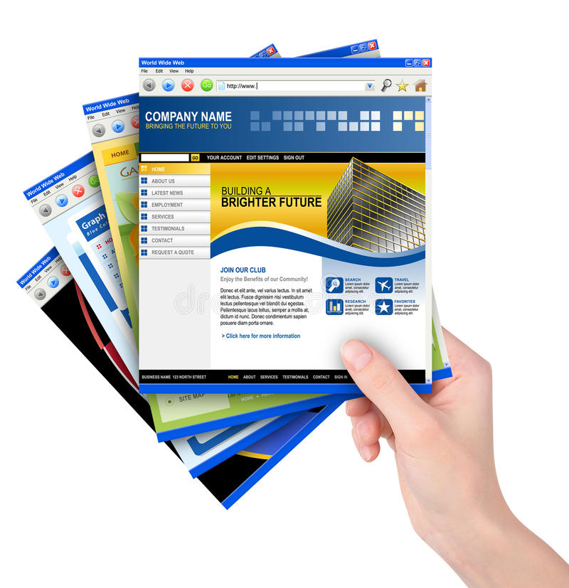 Moldes do Web site do Internet da terra arrendada da mão imagem de stock royalty free