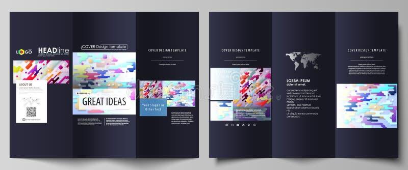 Moldes dobráveis em três partes do negócio do folheto Disposição de projeto abstrata do vetor Linhas de cor e pontos brilhantes,  ilustração do vetor