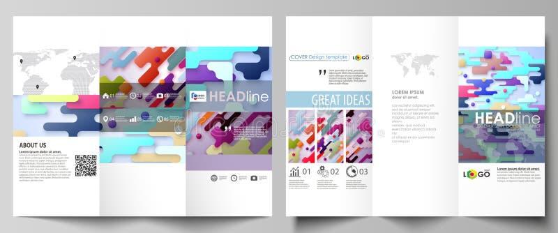 Moldes dobráveis em três partes do negócio do folheto Disposição de projeto abstrata do vetor Linhas de cor e pontos brilhantes,  ilustração stock