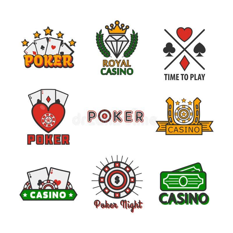 Moldes dos ícones do vetor do pôquer do casino das microplaquetas e dos cartões do jogo para o jogo em linha do Internet ilustração royalty free