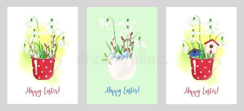 Moldes dos cartões de Páscoa com ilustrações da aquarela ilustração stock