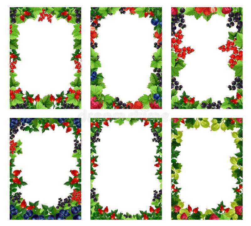 Moldes dos cartazes da baga ou do fruto do vetor ilustração royalty free