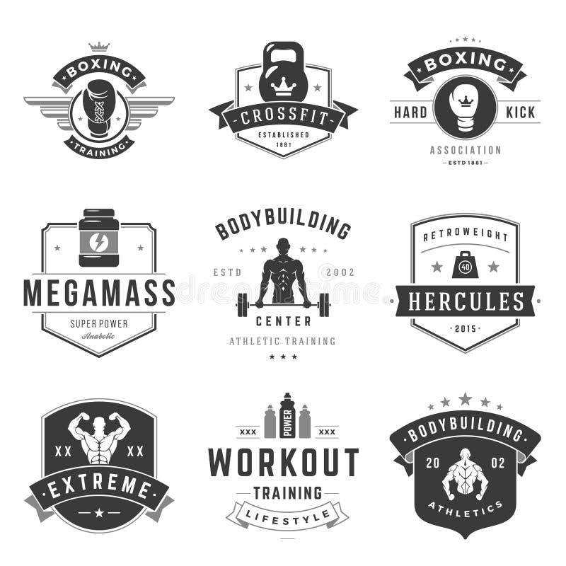 Moldes dos logotipos da aptidão ajustados ilustração do vetor