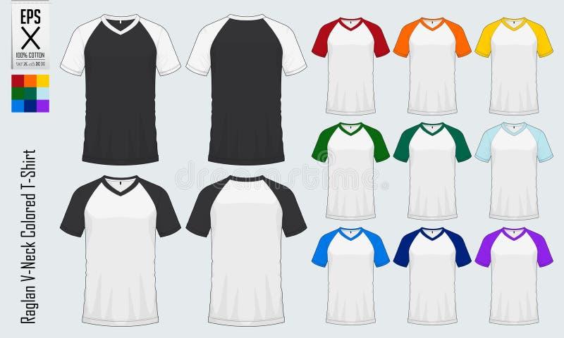 Moldes dos t-shirt do decote em V do Raglan Modelo colorido do jérsei da luva na vista dianteira e na vista traseira para o baseb ilustração do vetor