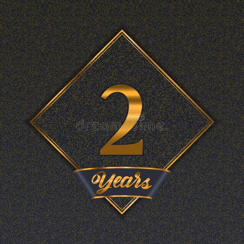Moldes dourados do número 2 ilustração royalty free