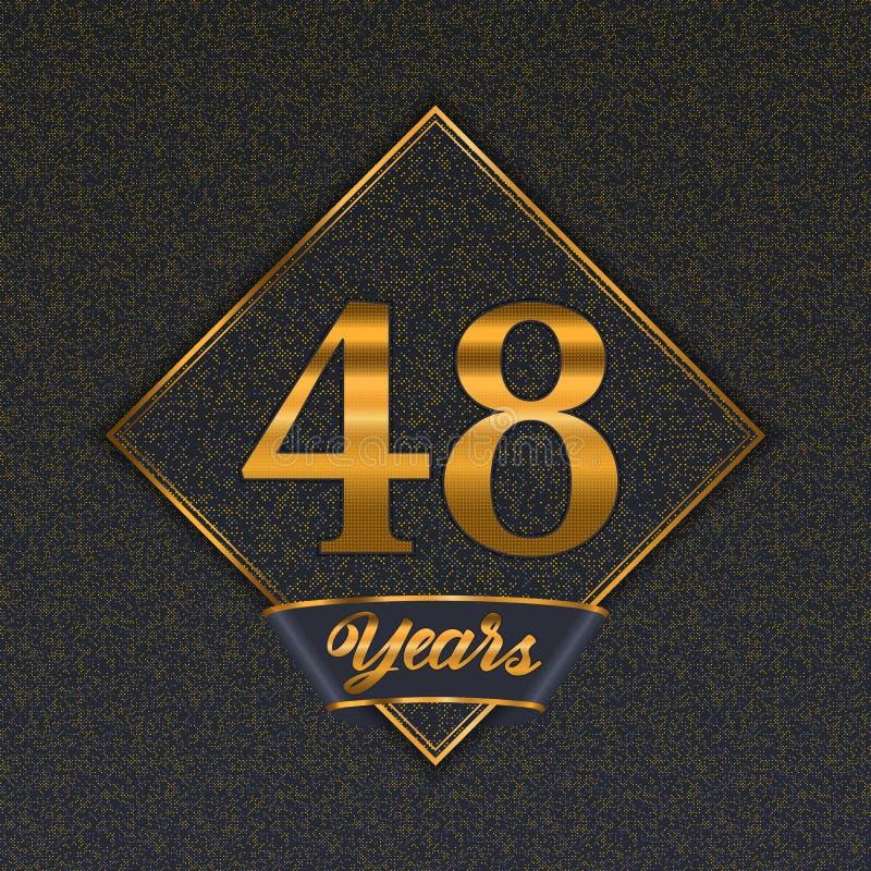Moldes dourados do número 48 ilustração royalty free