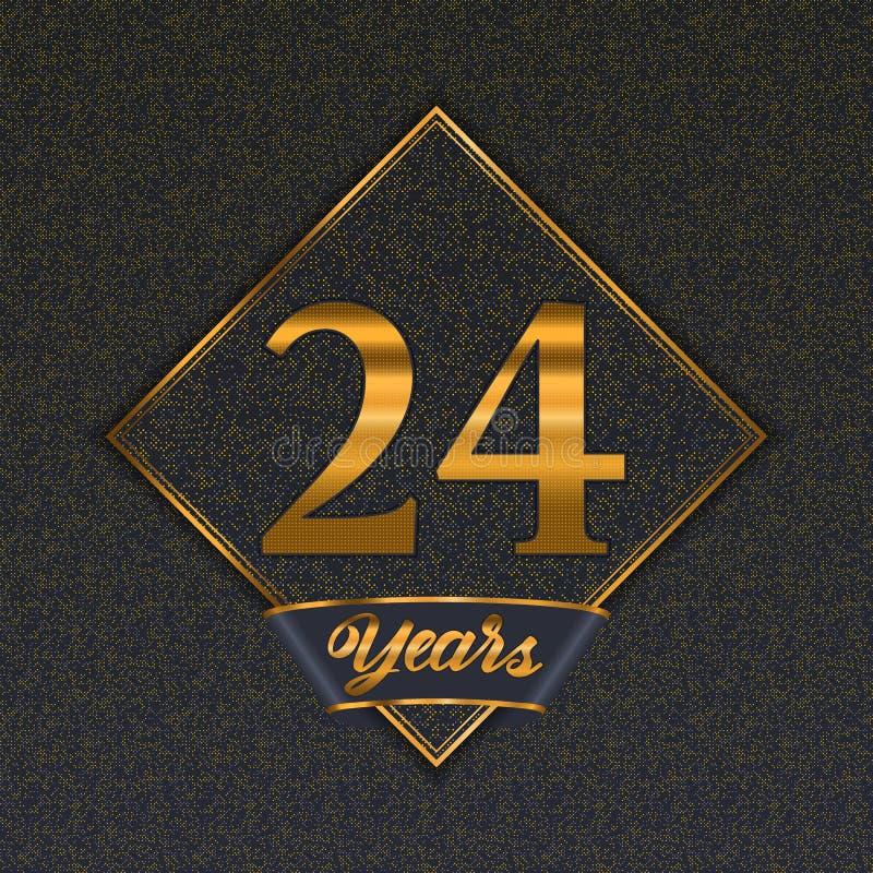 Moldes dourados do número 24 ilustração do vetor